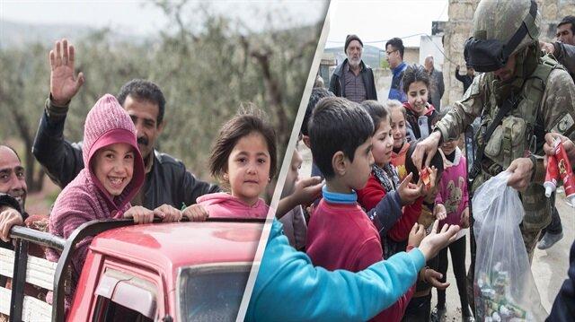 Mehmetçiğe Afrin'de sevgi gösterisi