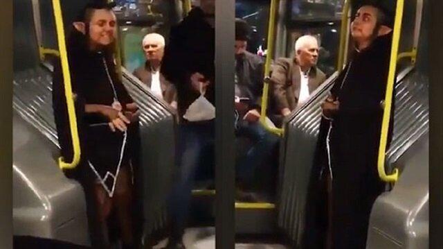 Metrobüste herkesi şoke eden yolcu