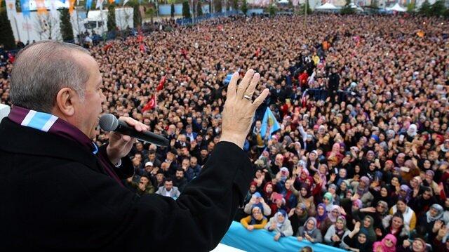 President of Turkey Erdoğan in Turkey's in Trabzon