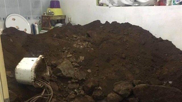 Evin mutfak bölümden kazı yapıldığı tespit edildi.