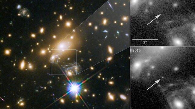 Hubble Teleskobu, derin uzay gözlemleri sırasında Dünya'dan 9 milyar ışık yılı uzaktaki bir yıldızı görüntüledi.