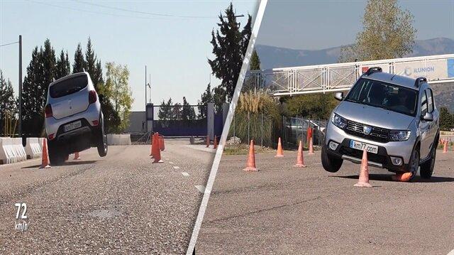 Sandero 72 km hızla manevra testinde takla atıyordu