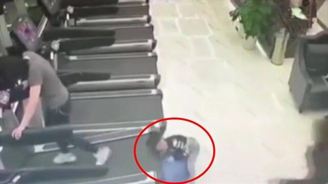 Spor salonunda yürekleri ağza getiren kaza kamerada