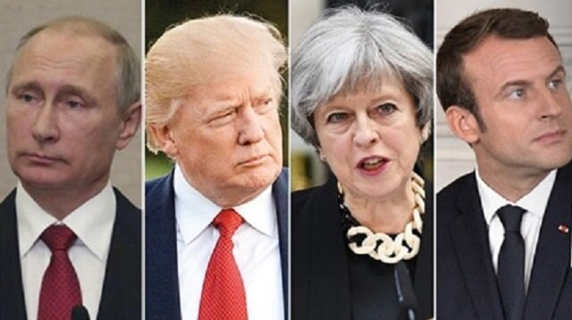 Vladimir Putin Donald Trump Theresa May and Emmanuel Macron