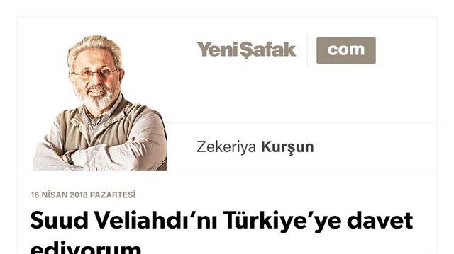 Suud Veliahdı'nı Türkiye'ye davet ediyorum