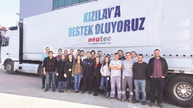 Neutec Group'un sunduğu ilaç desteği farklı coğrafya- larda ihtiyacı olan halklara ulaştırılıyor. Neutec Group, son 70 günde Türk Kızılayı'- nın Gazze ve Erbil projeleri- ne 2 milyon 683 bin liralık ilaç yardımında bulundu.