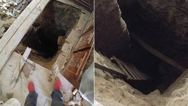 Bir evin zemininin 10, diğer evin ise 5 metre derinliğinde kazıldığı belirlendi.