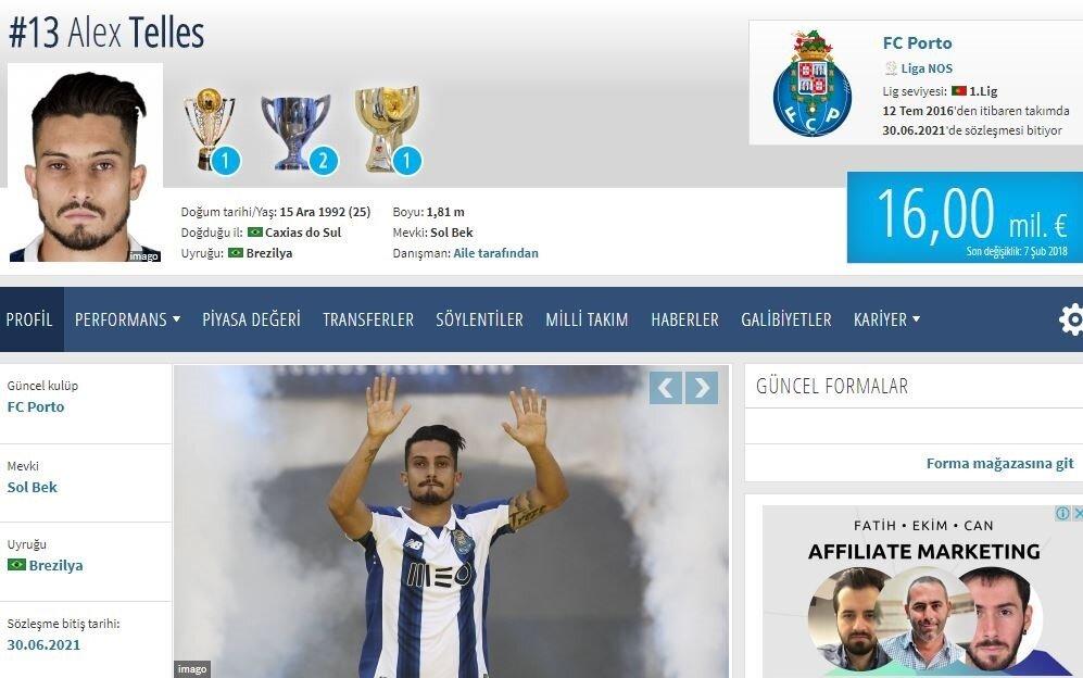 Galatasaray'dan 6.5 milyon euroya alınan Alex Telles'in bonservis bedeli 16 milyon euroya ulaştı.