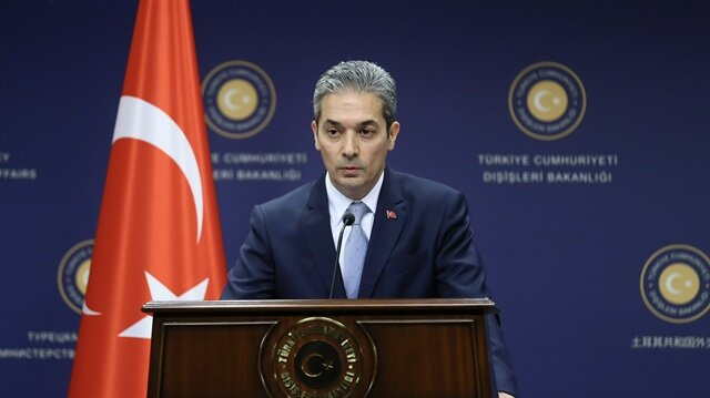 Turkish Foreign Ministry spokesman Hami Aksoy delivers a speech during a press conference in Ankara, Turkey on April 12, 2018.