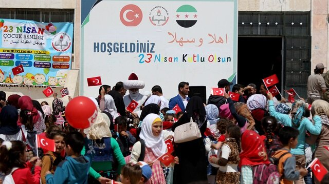 احتفال في أعزاز شمالي سوريا بعيد