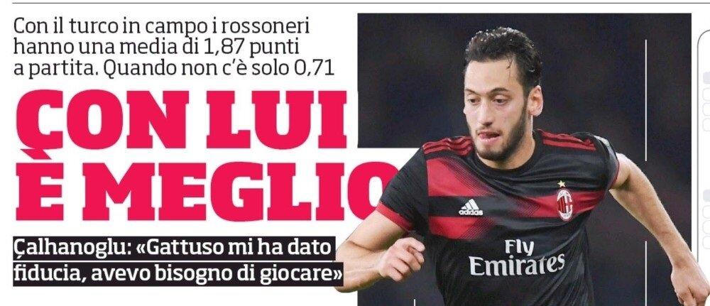 Hakan Çalhanoğlu, İtalyan basınında manşetlerde yer aldı.
