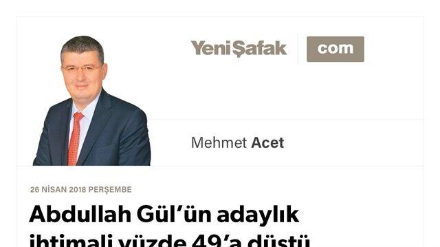 Abdullah Gül'ün adaylık ihtimali yüzde 49'a düştü