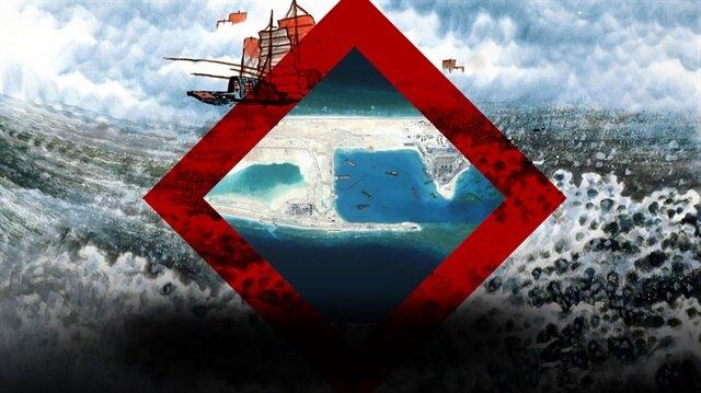 9 kesik çizgili paylaşılamayan Güney Çin Denizi