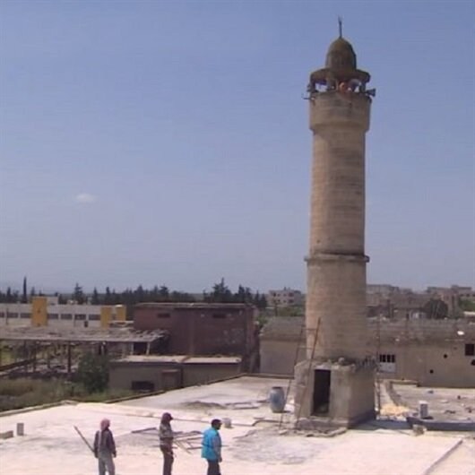Afrin'de teröristlerin zarar verdikleri camiler onarılıyor