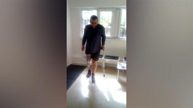47 ameliyat geçiren 15 Temmuz gazisi yürümeye başladı