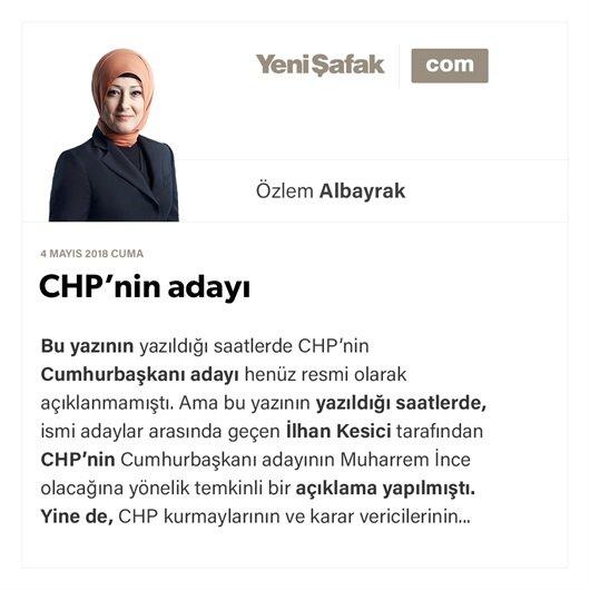 CHP'nin adayı
