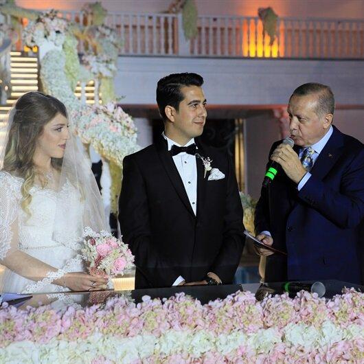 Cumhurbaşkanı Erdoğan Bakan Özhaseki'nin kızının nikah şahitliğini yaptı