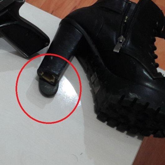 Ayakkabının topuğuna gizlemiş!