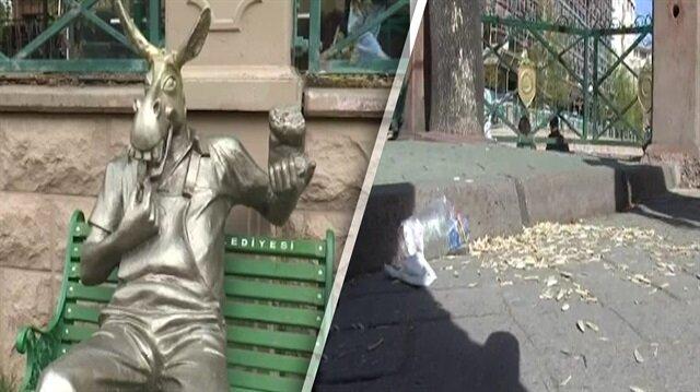 Yere çekirdek atan vatandaşa eşek heykeli de fayda etmedi