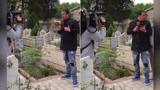 Mezarlıkta canlı yayın yapan muhabiri korkutan yaşlı amca