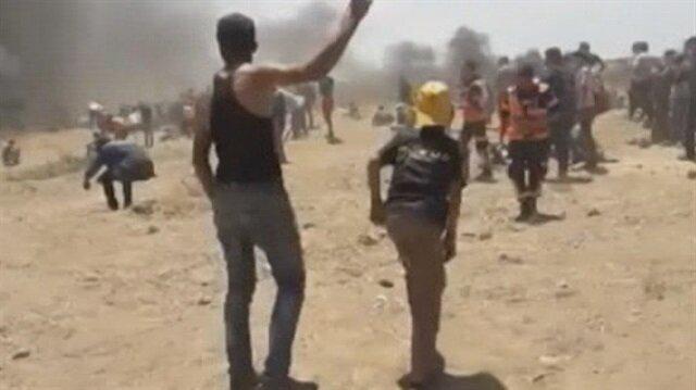 İşgalci İsrail askerlerinin Filistinlileri öldürme anı