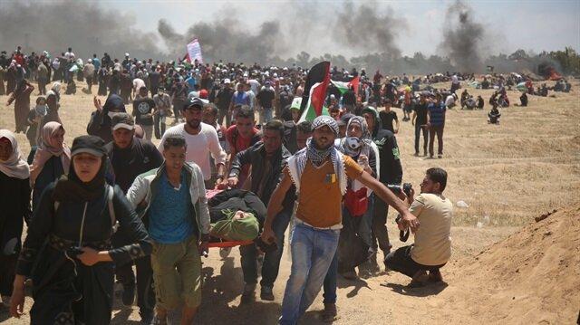 İsrail askerlerinin ateş açması sonucu çok sayıda Filistinli şehit oldu.