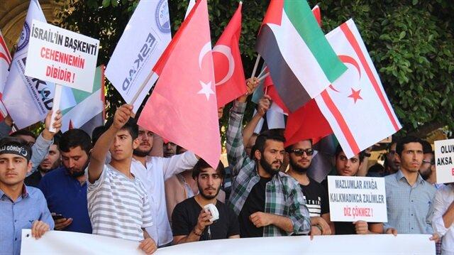 KKTC'de işgalci İsrail ve ABD protesto edildi