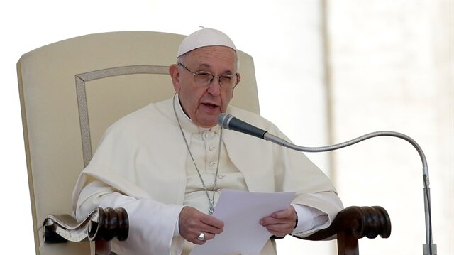 Pope Francis speaks during the Wednesday general audience in Saint Peter's square