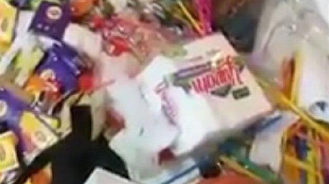 Rus kadının valizinden onlarca tabak, havlu, tuvalet kağıdı, banyo malzemesi, bitki çayı çıktı