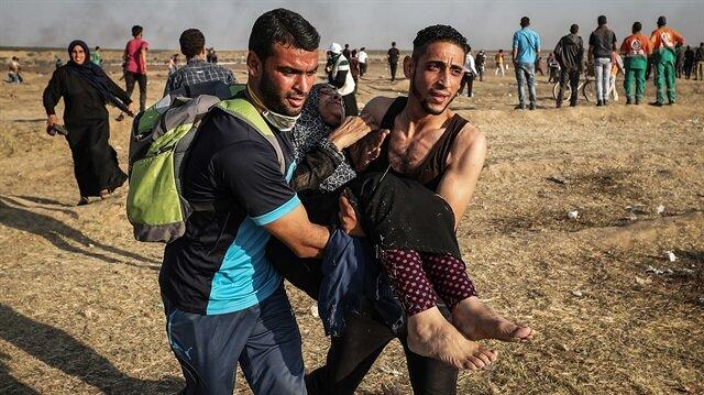 Filistinli göstericilere karşı İsrail katliamı devam ediyor.