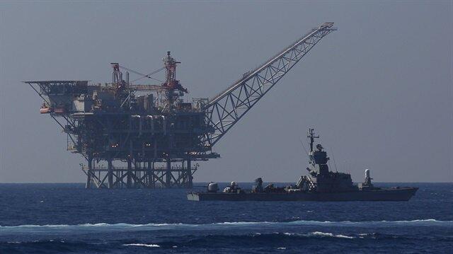 An Israeli gas platform is seen