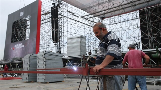 Yenikapı'daki 'Kudüs'e Destek' mitingi için hazırlıklar sürüyor