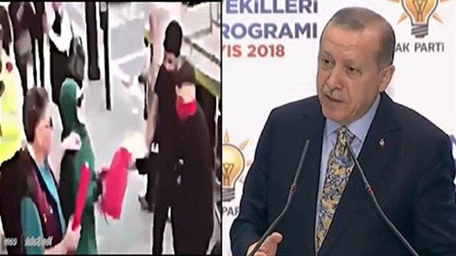 Erdoğan'dan bayrağı PKK'lılara kaptırmayan kadın için:'Asrımızın Nene Hatun'u'