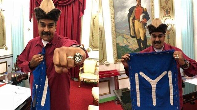 Venezuela Devlet Başkanı'ndan Kayı Boyu bayraklı fotoğraf...