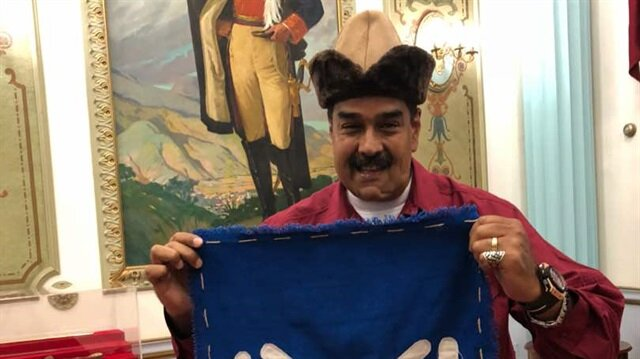 Image result for Maduro wearing a medieval hat and a giant ring from the popular Turkish historical television drama Dirilis Ertugrul