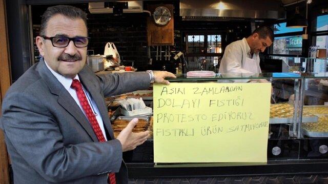 Başkan Necip Daş: Ben Bursa Tatlıcılar Odası Başkanı olarak iş yerimde fıstıklı tatlı satmama kararı aldım.