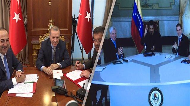 Erdoğan, Venezuela Devlet Başkanı ile böyle görüştü