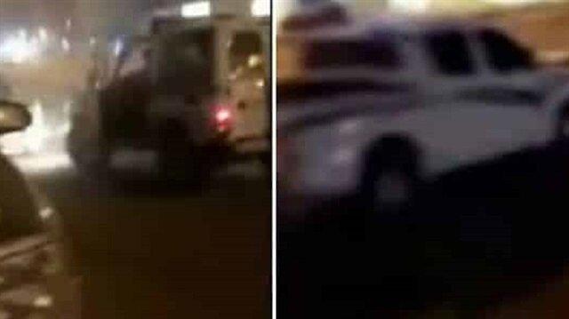 شاهد: قائد سيارة يسير عكس الاتجاه ويصطدم بدورية أمنية ومركبات متوقفة ويفر هاربا