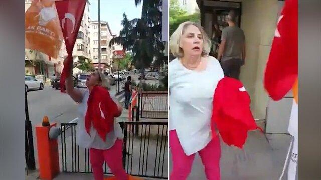 CHP üyesi kadın, AK Parti ve Türk bayraklarını söktü!