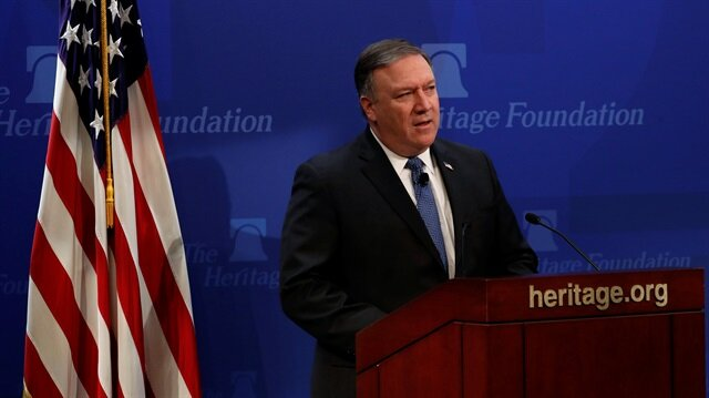 U.S. Secretary of State Mike Pompeo delivers remarks on the Trump administration's Iran policy at the Heritage Foundation in Washington