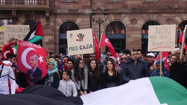 من فرنسا.. مئات المتظاهرين يحتجون على المجازر الإسرائيلية بغزة