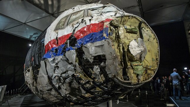 The reconstructed wreckage of Malaysia Airlines flight MH17 which crashed over Ukraine in July 2014 is seen in Gilze Rijen, Netherlands, October 13, 2015.