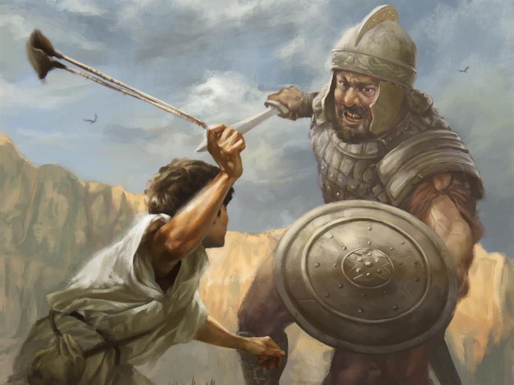 Hz. Davud ve Câlût karşılaşmasını anlatır bir çizim.