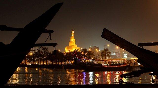 A mosque is seen along a coastline in Doha, Qatar.