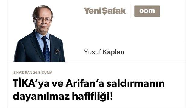 TİKA'ya ve Arifan'a saldırmanın dayanılmaz hafifliği!