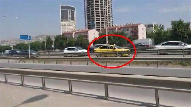 Sapağı kaçıran taksi sürücüsü geri geri gidince yürekler ağza geldi