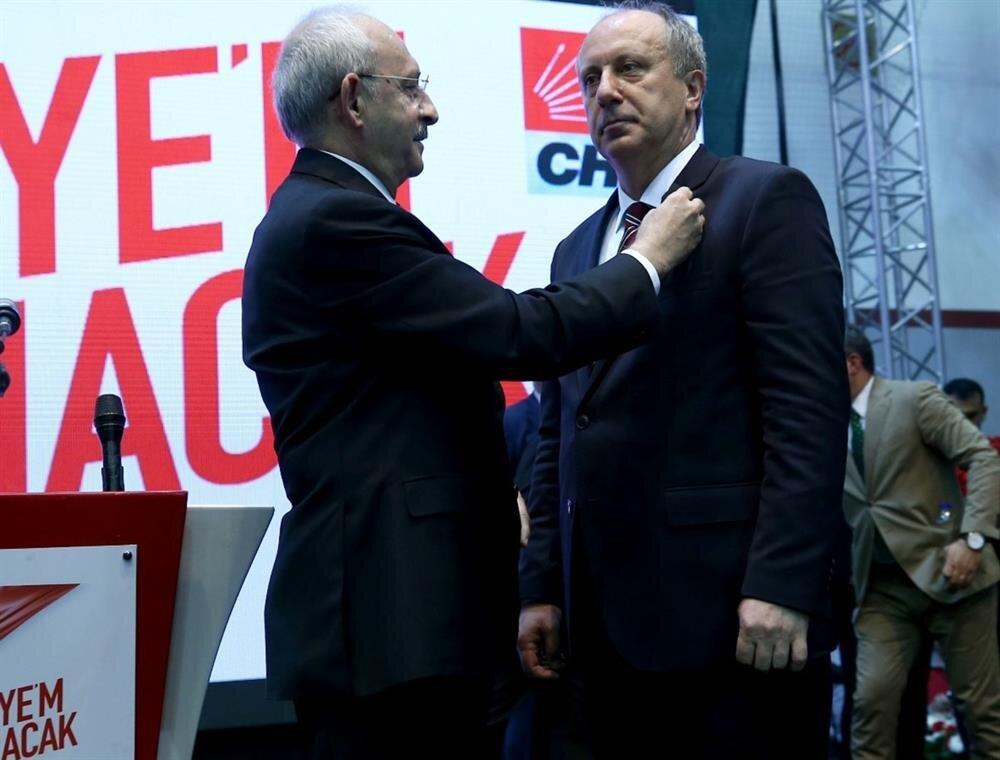 CHP Yalova Milletvekili Muharrem İnce, 24 Haziran'da yapılacak cumhurbaşkanı seçiminde CHP'nin cumhurbaşkanı adayı oldu. İnce'nin ismini CHP Genel Başkanı Kılıçdaroğlu ilan etti.