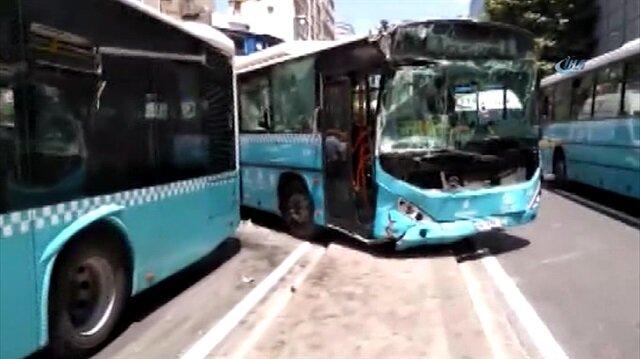 Şişli'de halk otobüsleri birbirine girdi: İlk görüntüler