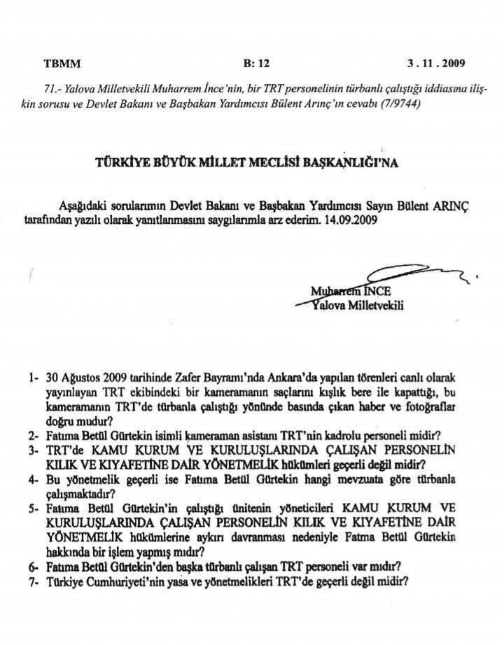 وثيقة الخطاب الذي أرسله إينجة للبرلمان التركي عام 2009