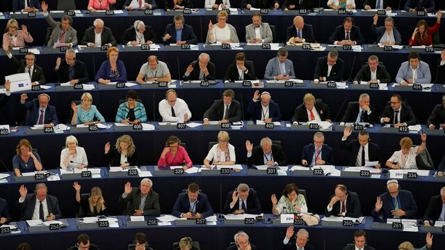 Members of the European Parliament take part in a voting session at the European Parliament in Strasbourg, France, June 13, 2018.